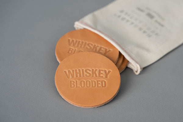Manready Mercantile Leather Coaster with Whiskey Blooded in light brown available at manready.com