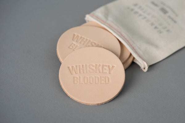 Manready Mercantile Leather Coaster with Whiskey Blooded in natural available at manready.com