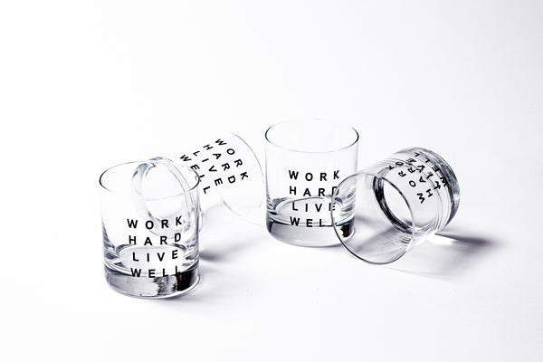 Work Hard, Live Well Glassware | Set of 4 | Manready Mercantile