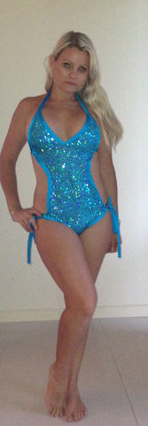 #b011 Sequin Full Piece Swimmers