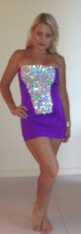 #m004 Strapless Sequin and Spandex Mini Dress
