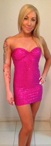 #m005 Strapless Sequin Mini Dress