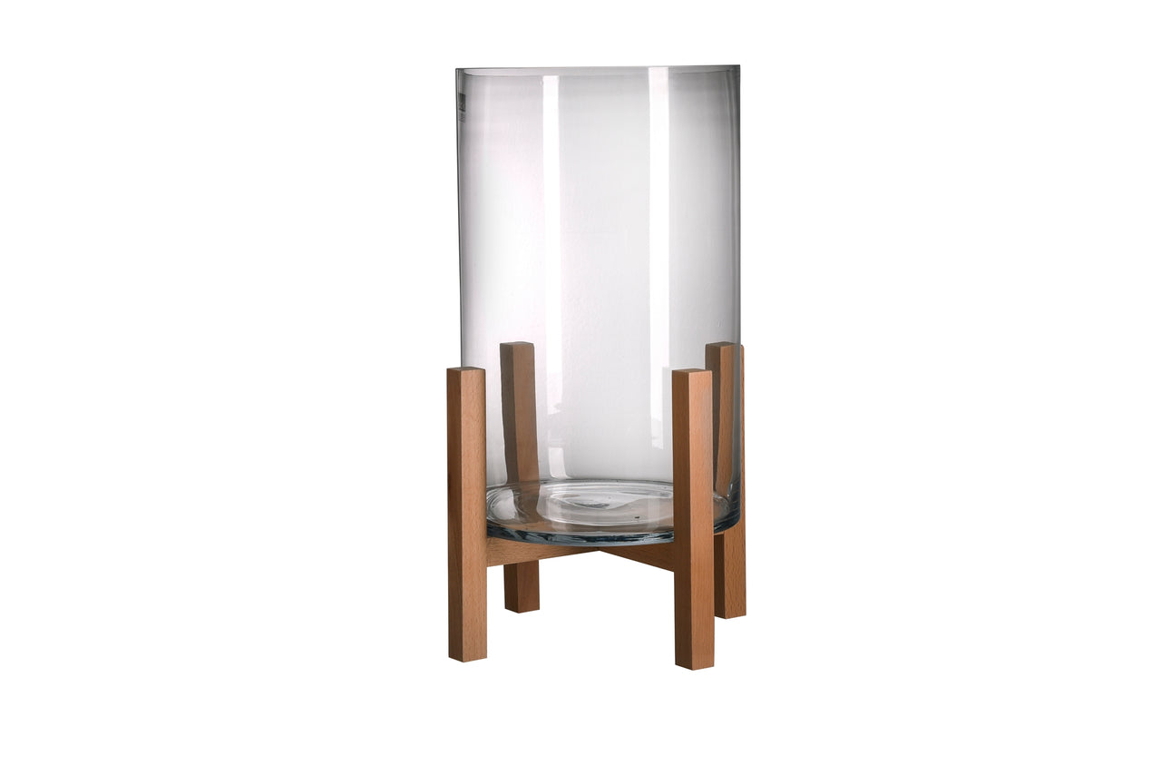 Lg. Glass and Beech Wood Vase Candle Holder