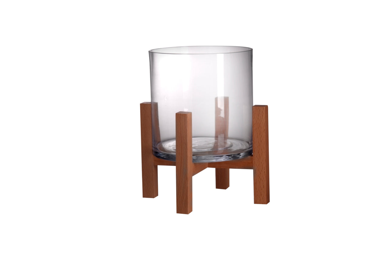 Sm. Glass and Beech Wood Vase Candle Holder