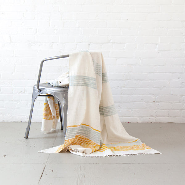 Camden Cotton Lightweight Blanket - Azure & Gold