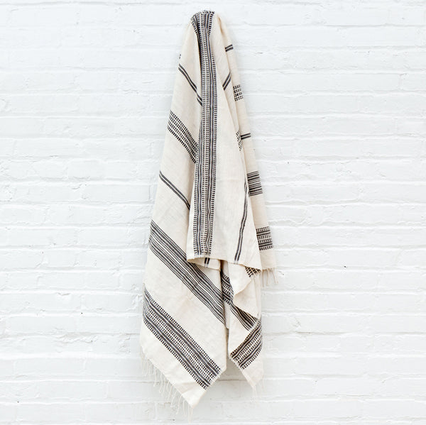 Aden Cotton Bath Towel - Natural w Grey