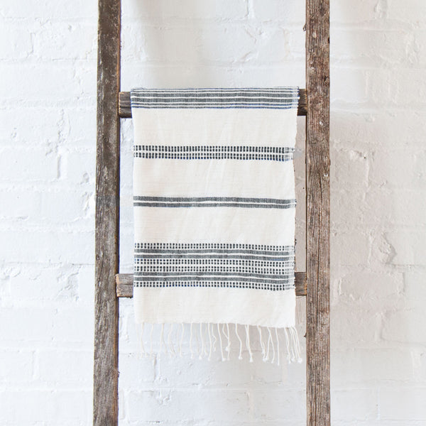 Aden Cotton Hand Towel - Natural w Grey