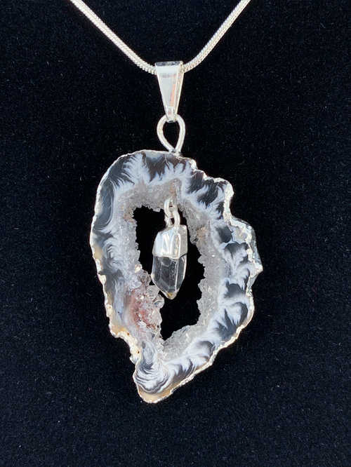 "Clear Quartz in Natural Agate ""All 7 Chakras Balancing"" Necklace"