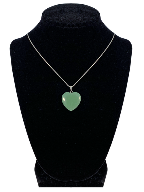 "Green Aventurine Heart Shaped Necklace ""Well Being and Adventure"""