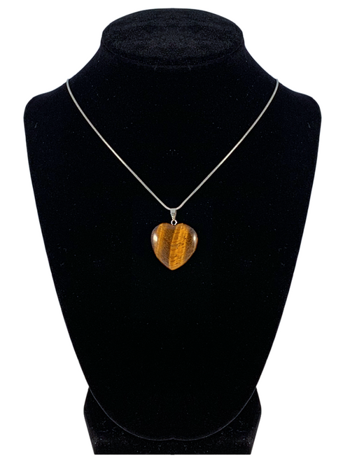 "Tiger Eye Heart Shaped Necklace ""Self Confidence and Power"""