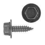 Indented Hex Head Sems® Sheet Metal Screw Loose Washer | Black | Screw Size: 6.3-1.81 x 20mm | Head Size: 10mm | OD Washer: 17mm | OEM # GM: 11505022