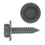 Indented Hex Head Sems® Sheet Metal Screw Loose Washer | Black | Screw Size: 6.3-1.81 x 25mm | Head Size: 10mm | OD Washer: 17mm | OEM # GM: 11500996, 11505023, 11508430