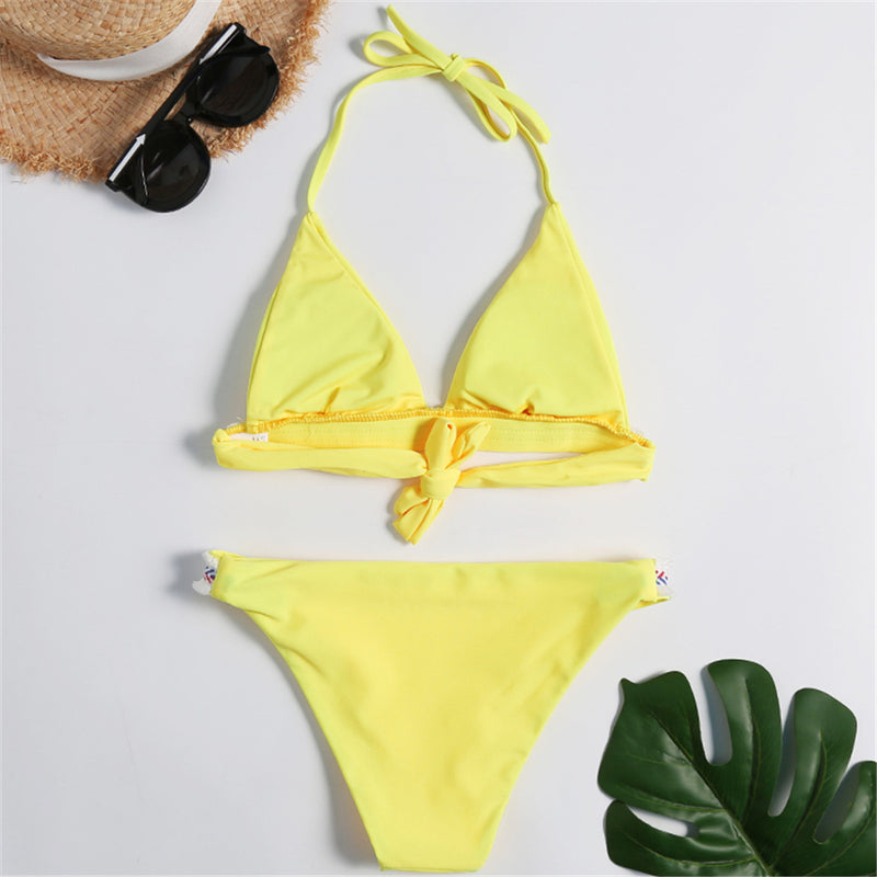 Solid High Leg Embroidery Edge Bikini
