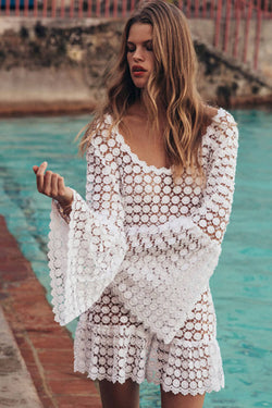 Bell Sleeve Lace Hollow Cover Up