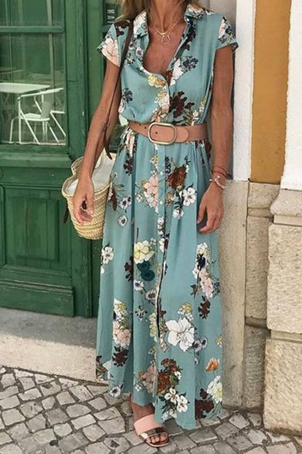 Boho Casual Floral Print Shirt Maxi Dress