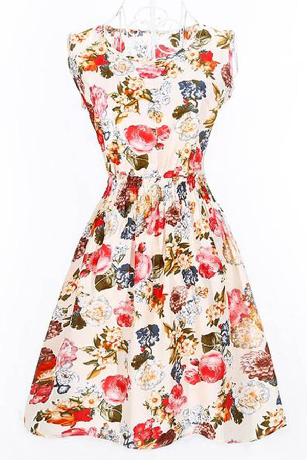 Casual Vintage Floral Print Sleeveless Dress