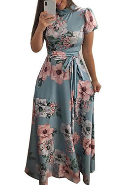O-Neck Floral Printed Short Sleeve Maxi Dress