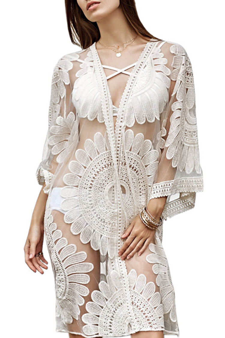 White Sunflower Crochet Cover Up
