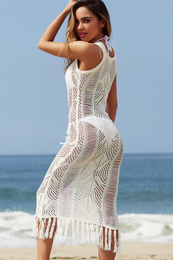Skinny Crochet Sexy White Cover Up