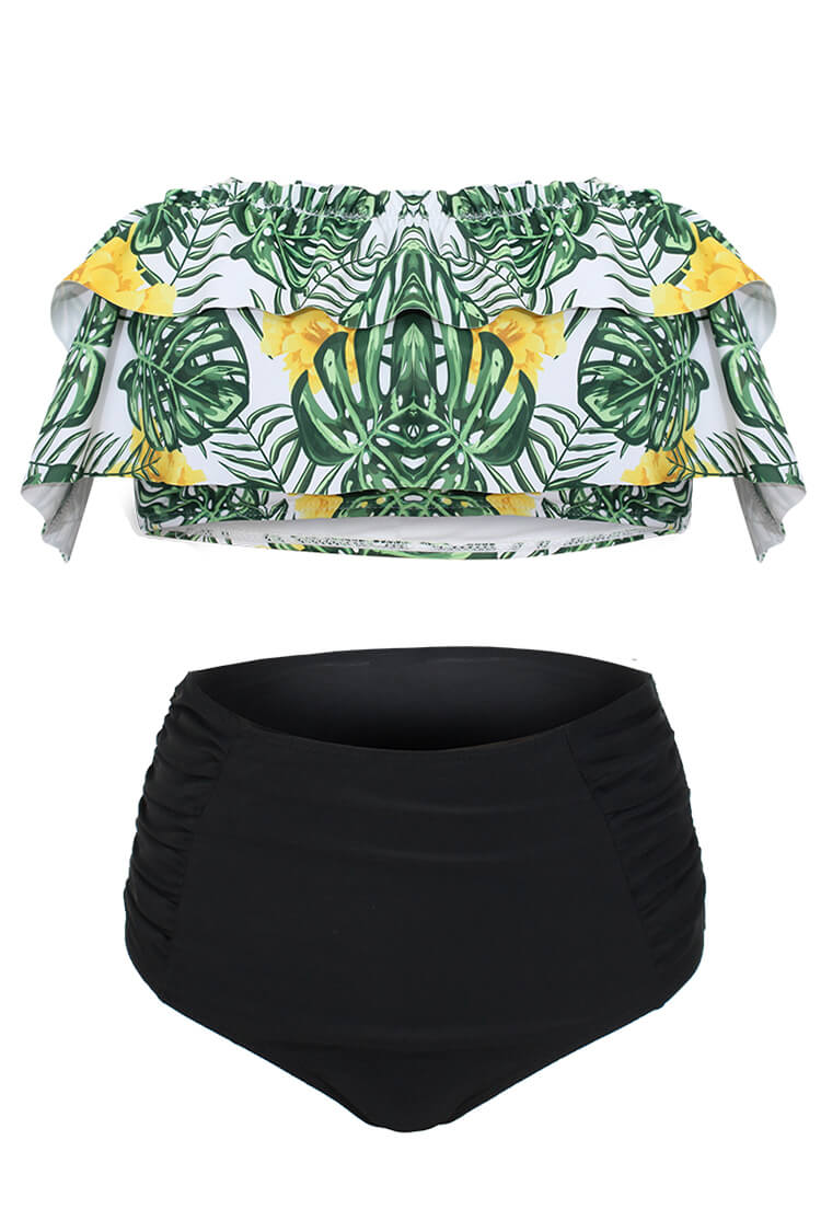 Monstera Print Ruffled High-waisted Bikini Set