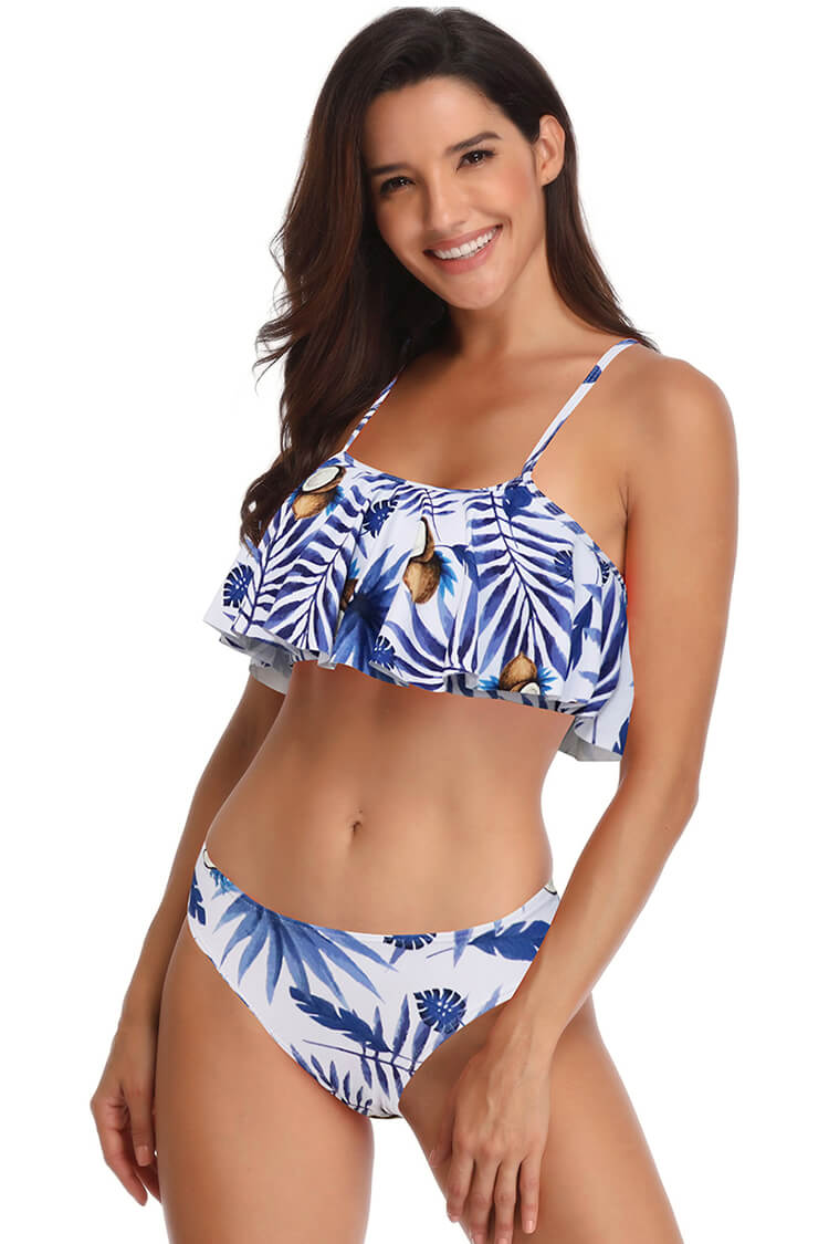 Blue And Leaf Print Ruffled Bikini Set