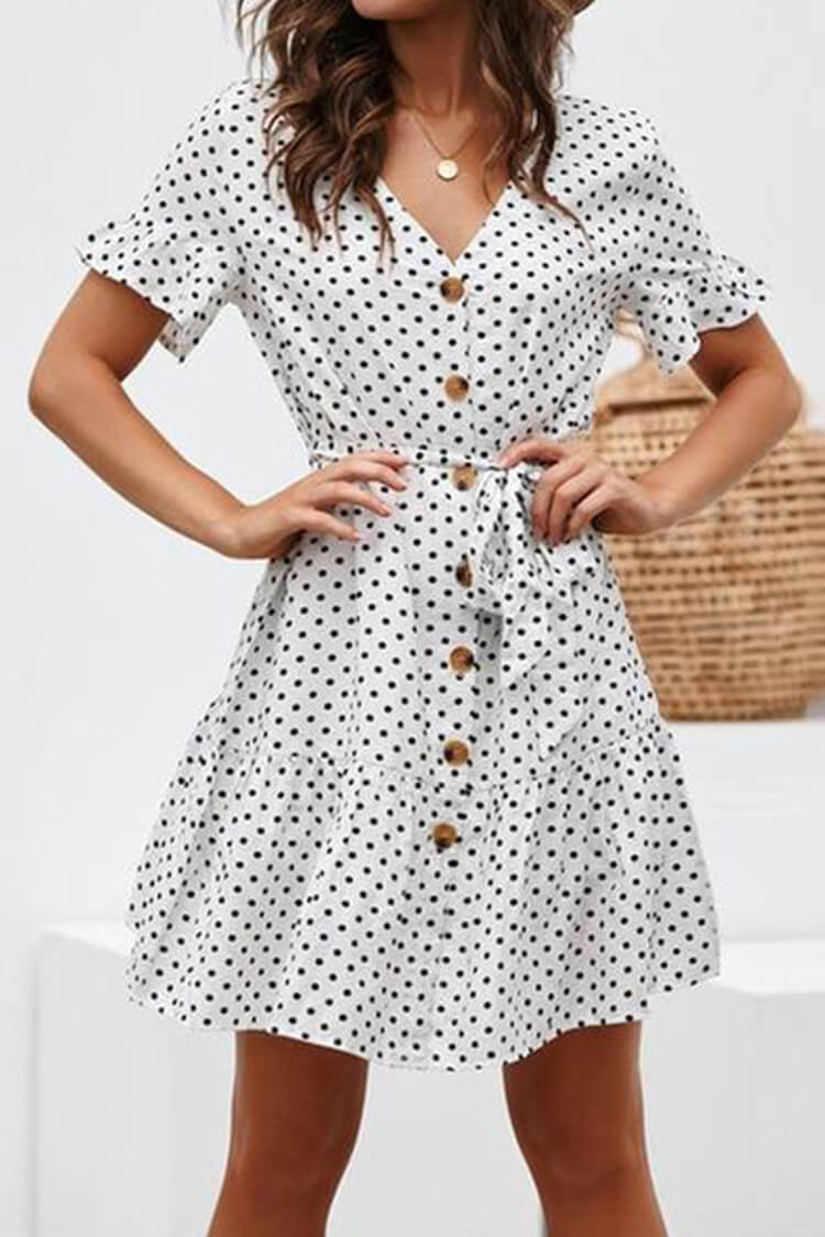 Casual Elegant Short Sleeve Polka Dot Dress Mini Dress