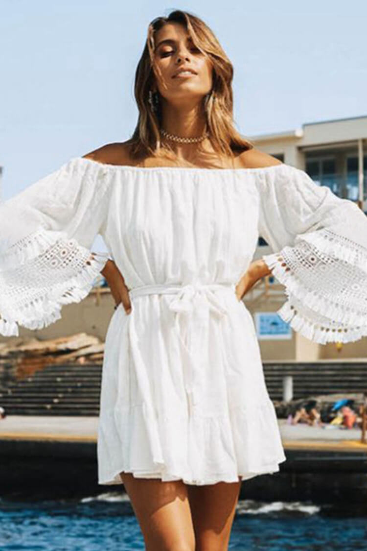 One Shoulder Tassel Simple Dress