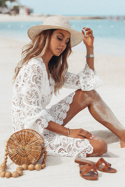 White Floral Lace Hollow Crochet Cover Up