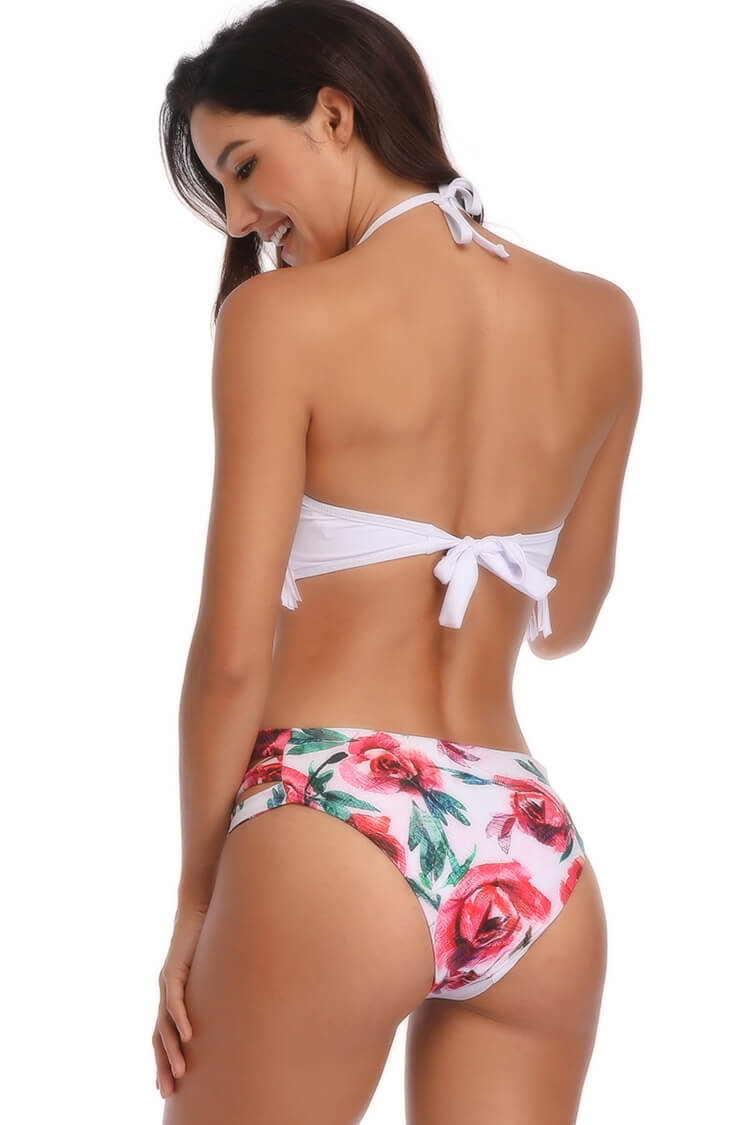 White Halter Tassel And Pink Floral Bikini Set