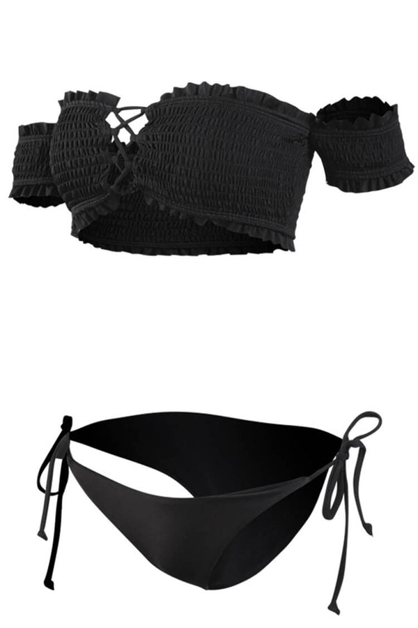 Black Cute Girl Smocking Bandeau Bikini Set