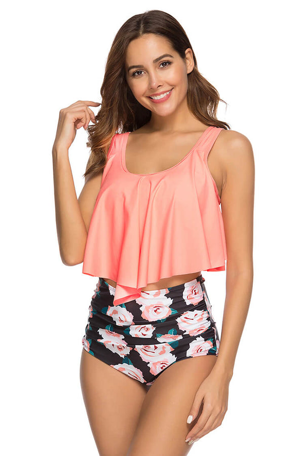 Orange Floral Print Ruffled High Waist Bathing Suits
