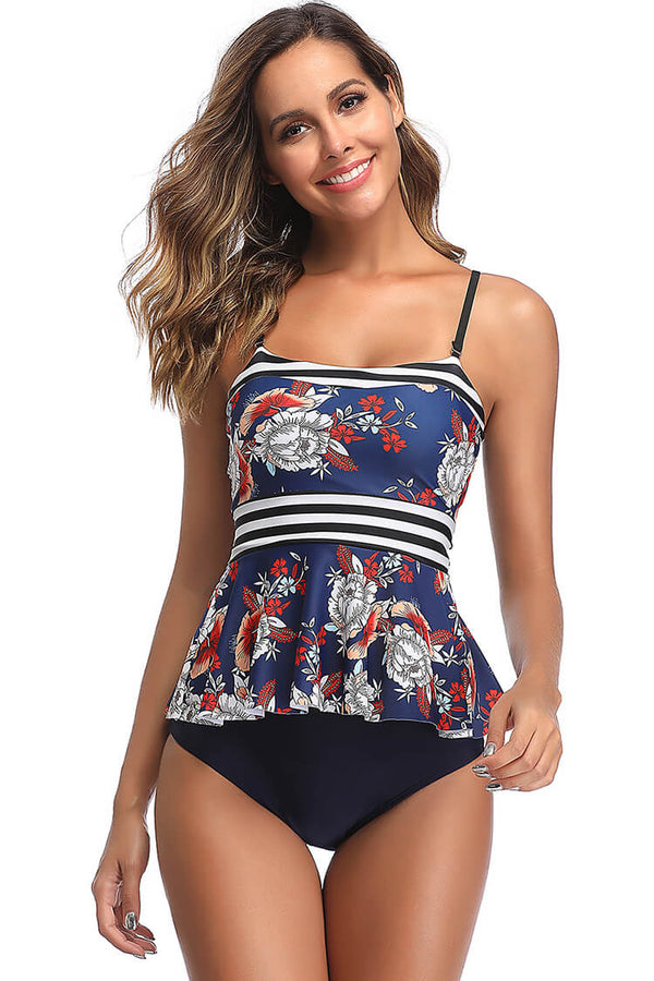 Blue And Floral Tankini Bikini