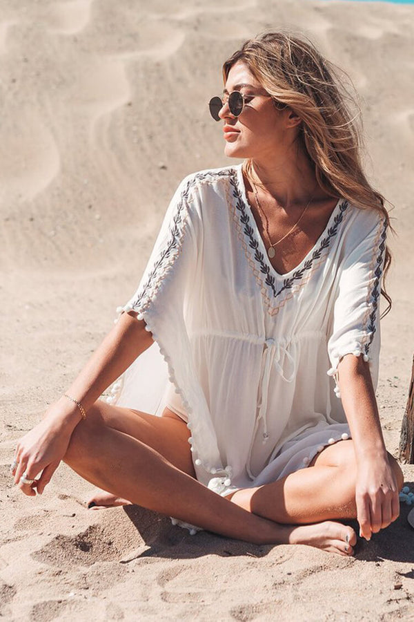 Lace Embroidery Tassel Cover Up