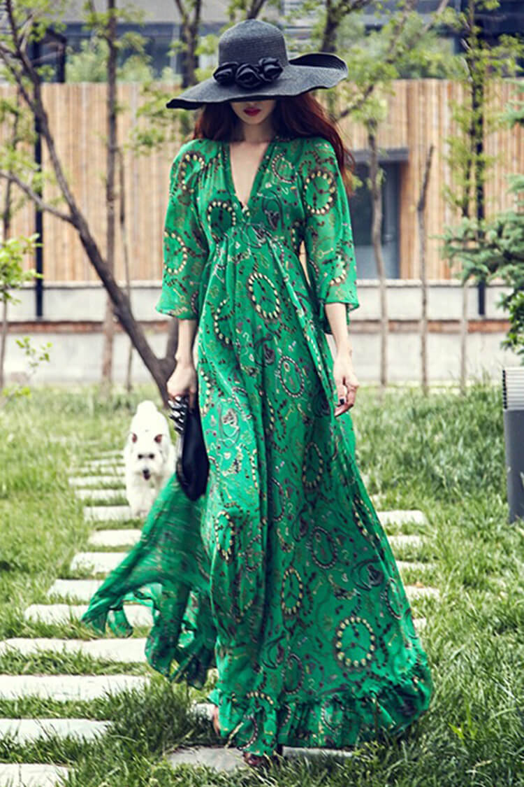 Bohemia Chiffon Green Flared Sleeves V-neck Maxi Dress