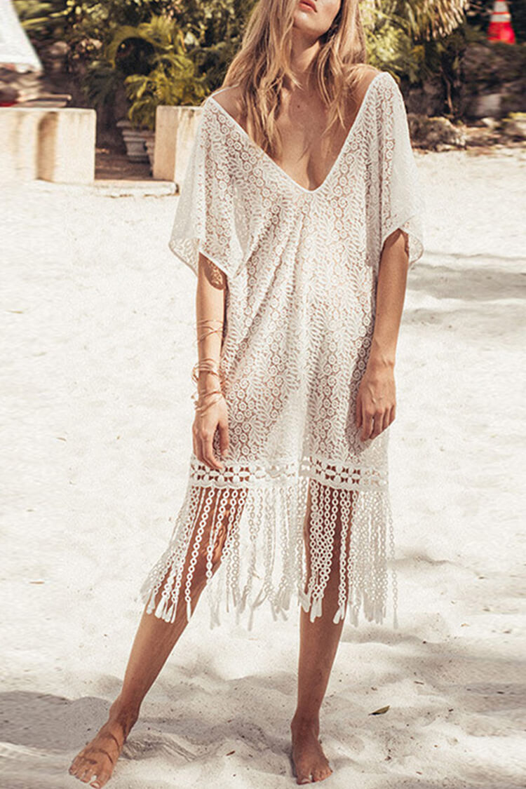 Sexy Crochet Tassel Cover Up