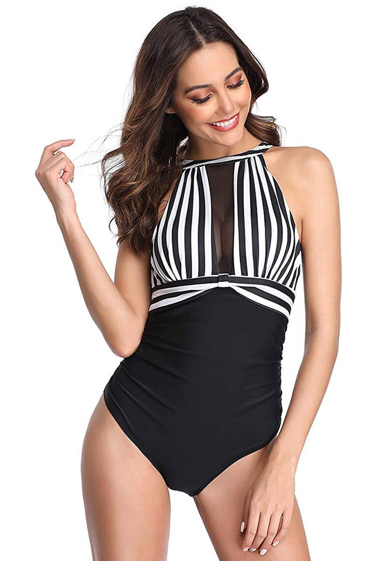 Black And White Stripe Mesh Ruched One Piece Swimsuit