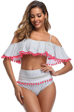 White Striped Falbala Bikini Set