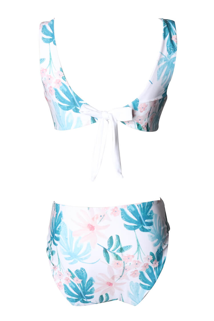 Flower And Leaf Print One-piece Swimsuit
