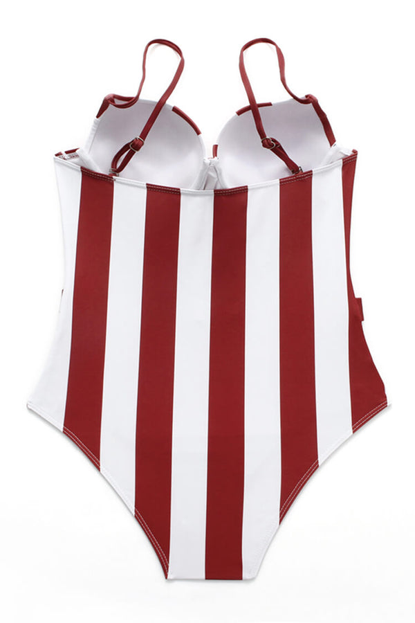 Striped Belt One Piece Swimsuit