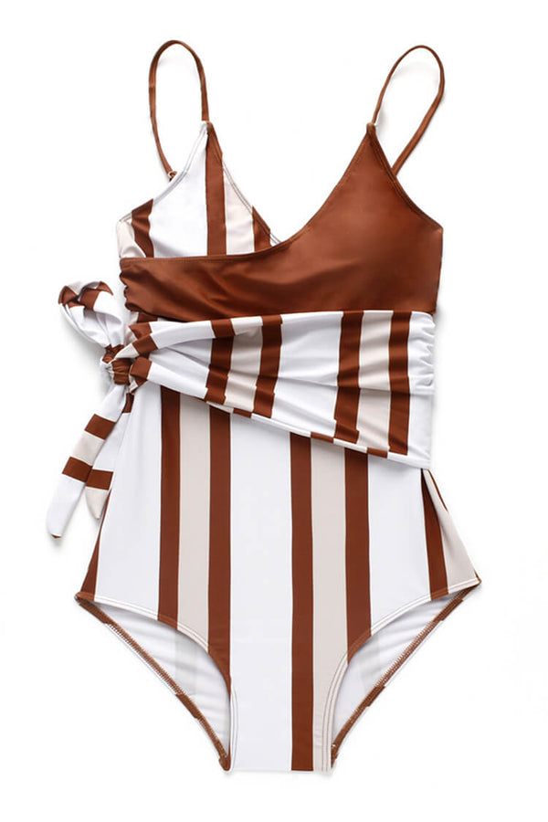Striped Knot One Piece Swimsuit