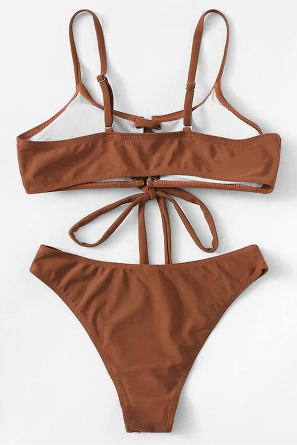 Classical Brown Lace Up Bikini Set