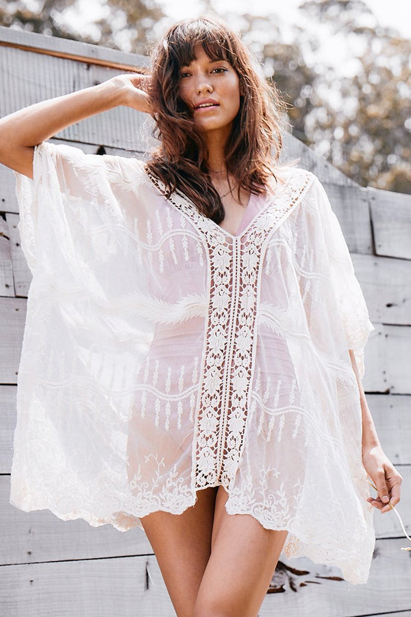 White V-Neck V-Back Lace Cover Up