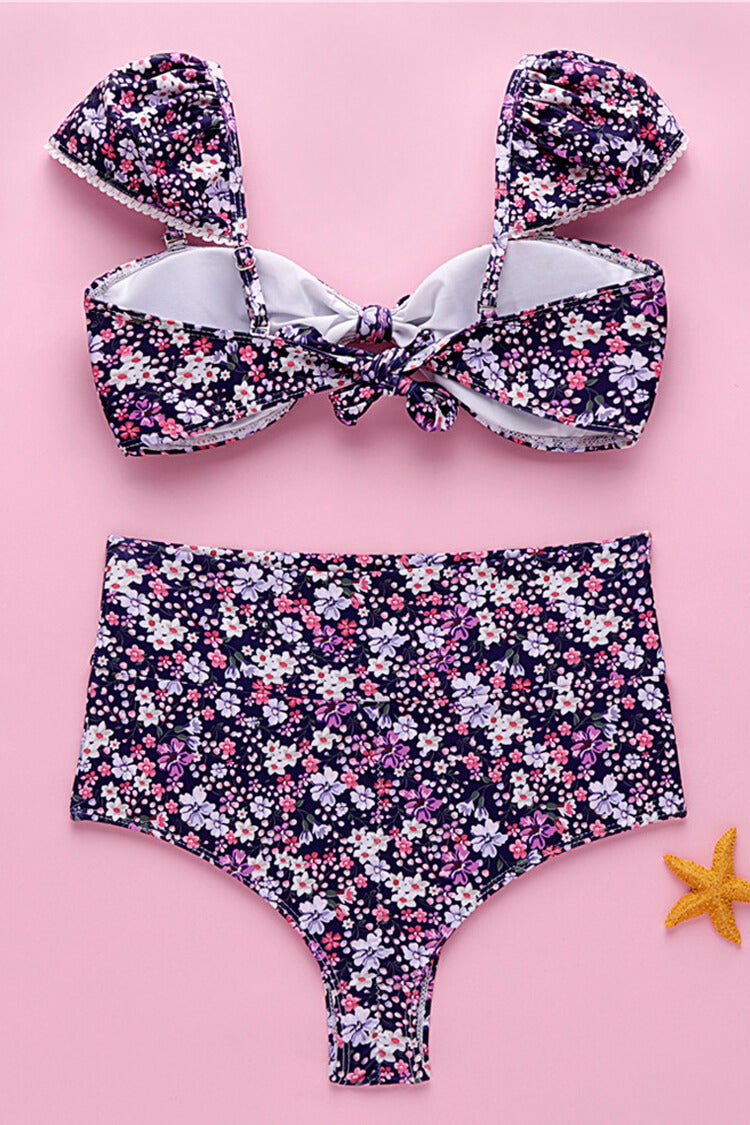 Small Floral Ruffle High Waist Bikini Set