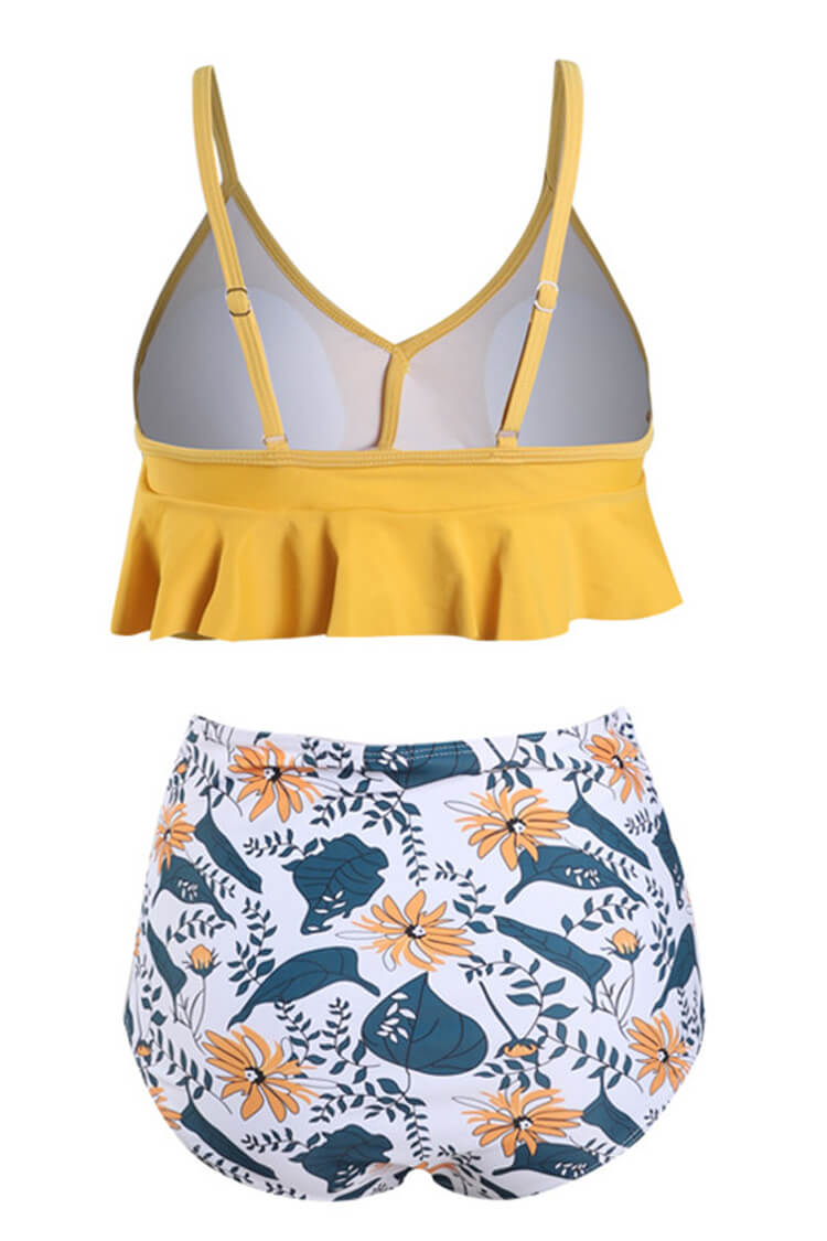Sunshine Yellow And Floral Ruffled High Waist Bikini Set