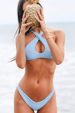Clean Light Blue Halter High Leg Bikini
