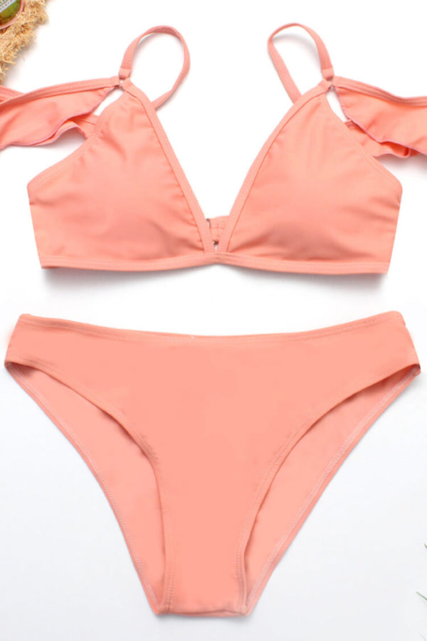 Peachy Pink Ruffled Sleeves Bikini Set