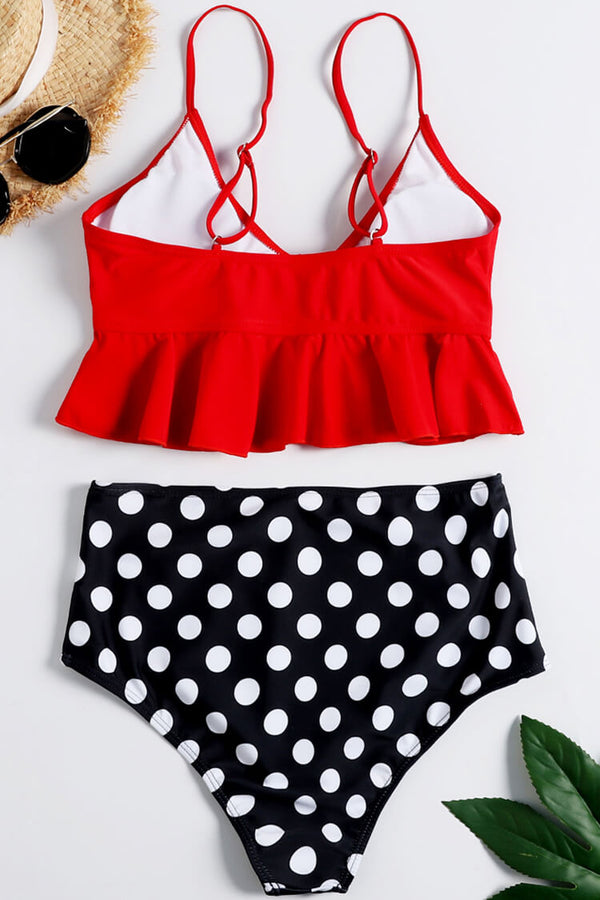 Red Ruffled And Polka High Waist Bikini Set