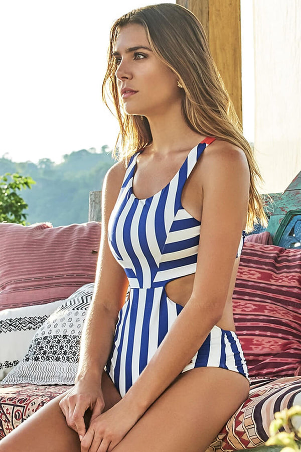 Striped Cut Out One Pieces Swimsuit