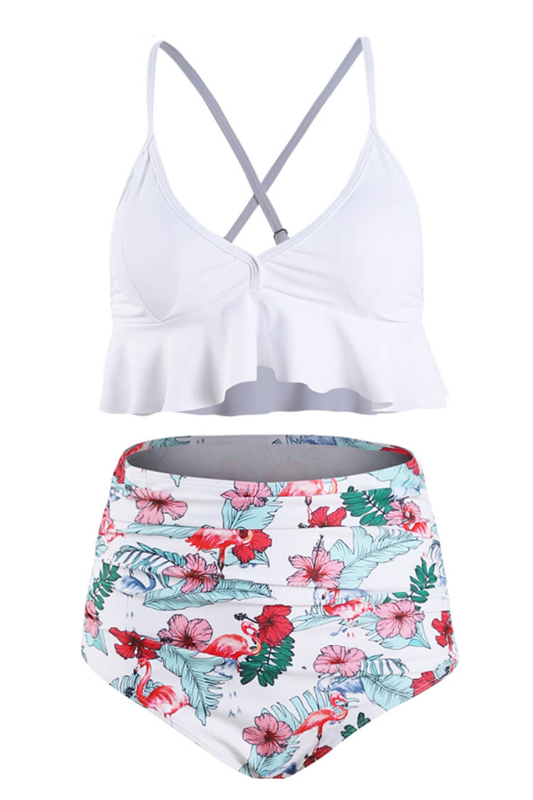 White And Floral Ruffled High Waist Bikini