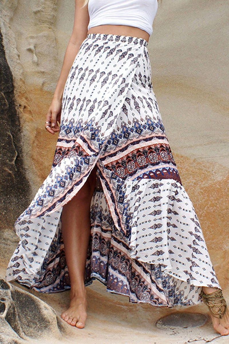 White Printed Ruffled Skirt Dress